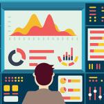 Vector illustration of web analytics information on dashboard and development website statistic - vector illustration