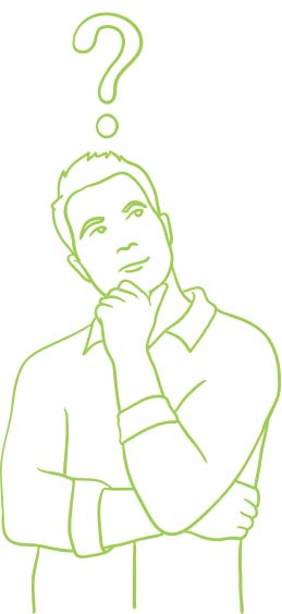 Line art of thinking man with question mark over his head